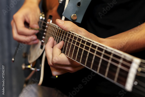 electric guitar close-up with fingers playing it Poster