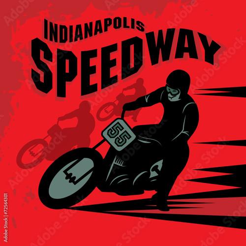 Fotografiet  Vintage Motorcycle race label