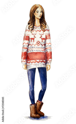 girl in a christmas sweater.Fashion illustration.