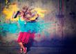 Leinwandbild Motiv dancing girl with color splashes - movin 04