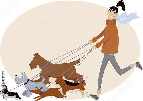 Fotomural Young woman walking a bunch of dogs