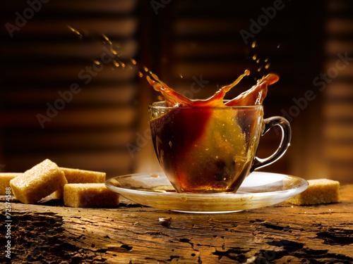 Plakat kostki kawy i cukru
