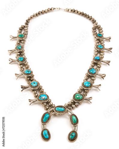Foto  Navajo Sterling Silber und Türkis Squash Blossom Halskette.