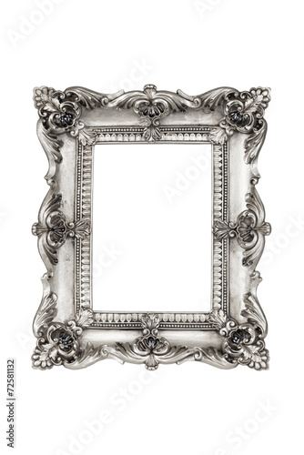 Old antique silver picture frames. Isolated on white background ...