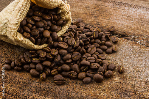 Aluminium Prints Coffee beans Brown roasted coffee beans in canvas sack.