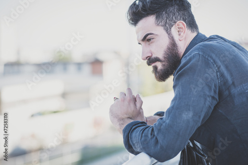 young handsome attractive bearded model man Canvas Print