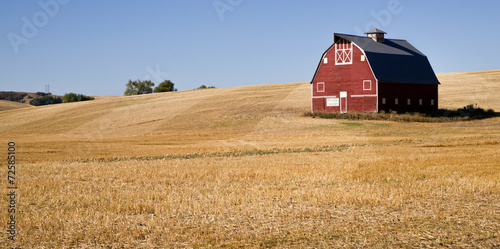 Fotografie, Obraz  Red Farm Barn Cut Straw Just Harvested