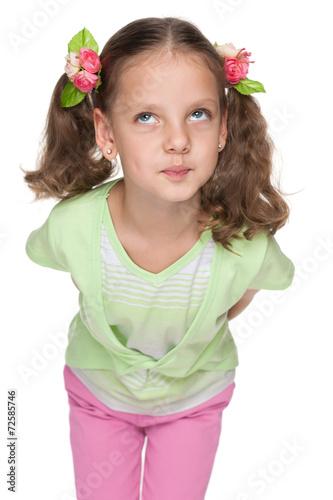 Foto op Canvas Schepselen Funny little girl looks up