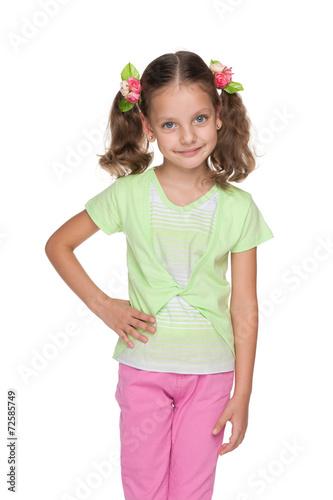 Foto op Canvas Schepselen Smiling fashion little girl