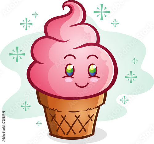 Fotografie, Obraz  Pink Ice Cream Cone Cartoon