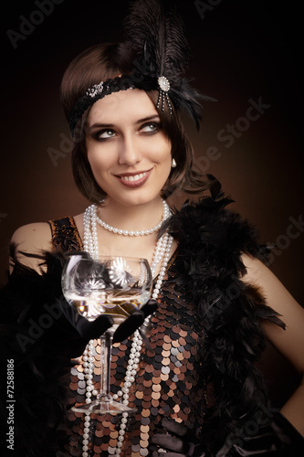 Poster  Retro 20s style woman holding champagne glass