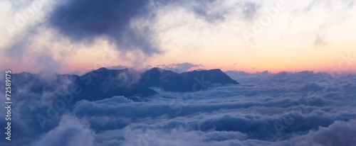 Mountain landscape with clouds #72589175