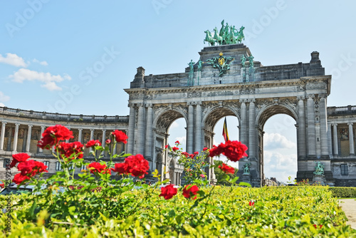 Foto op Canvas Brussel Triumphal Arch in Cinquantenaire Park in Brussels