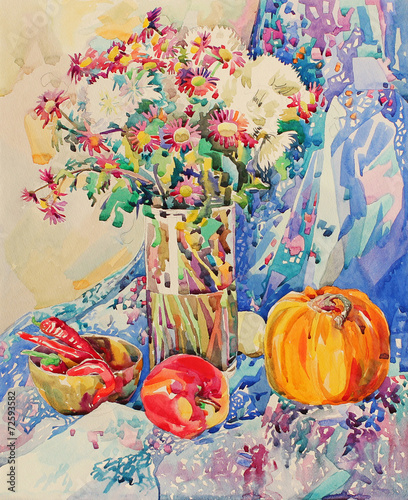 original watercolor still life with flowers - 72593582