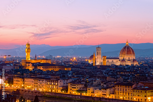 Panoramic view of Florence on a sunset, Italy