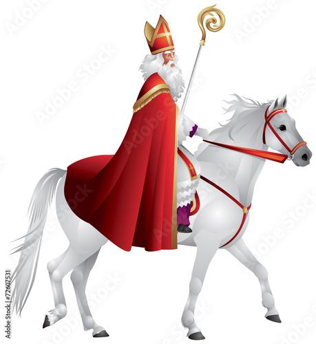 Heilige Nikolaus, Sinterklaas on the white horse Wall mural