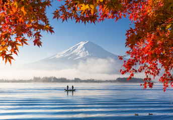 Obraz na Plexi Mt. Fuji and Kawaguchiko lake with morning fog in autumn