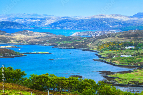 Carta da parati Lake and Mountains in Isle of Skye island. Landscape in Highland