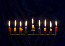 Hanukkah Menorah On A Dark Blue Background