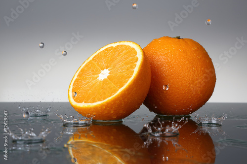 Orange and water drops