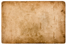 Aged Stained Paper Sheet Isolated On White Background