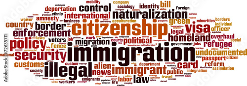 Immigration word cloud concept. Vector illustration Canvas Print