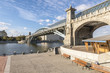 Modern pedestrian bridge on the Moscow river