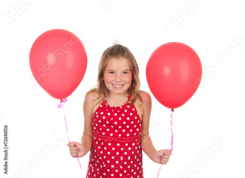 Photo  Little Girl holding Red Balloons on a White Background