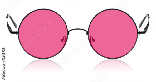 Round hippy glasses with pink lens Canvas Print