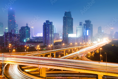 Fototapety, obrazy: shanghai interchange overpass and elevated road in nightfall