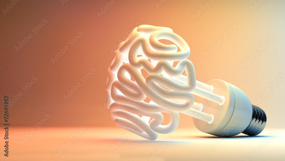 Fototapety, obrazy: Brain Flourescent Light Bulb