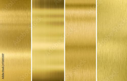 Türaufkleber Metall Gold or brass brushed metal texture backgrounds set