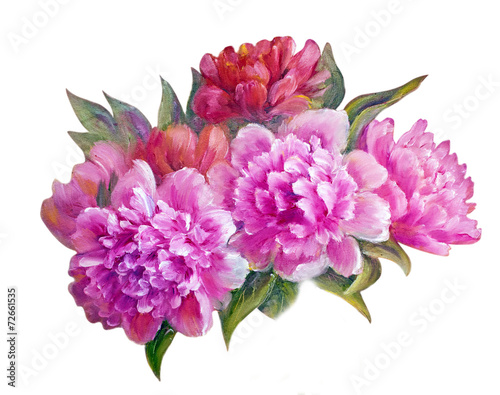 Poster de jardin Dahlia Peonies isolated on white, oil painting