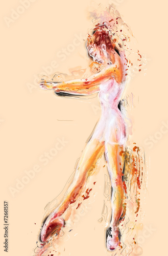 Beautiful young ballerina. Oil painting. Canvas-taulu