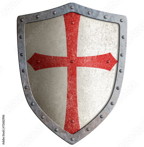 Photo  templar or crusader knight's metal shield isolated