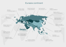 Infographics Continent Eurasia Blue