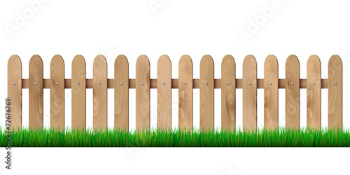 Láminas  Wooden fence and grass - isolated on white background