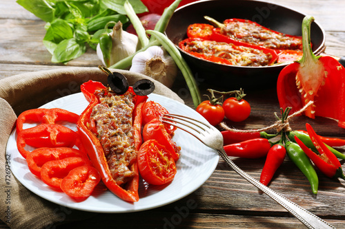 In de dag Buffet, Bar Stuffed pepper with meat and vegetables