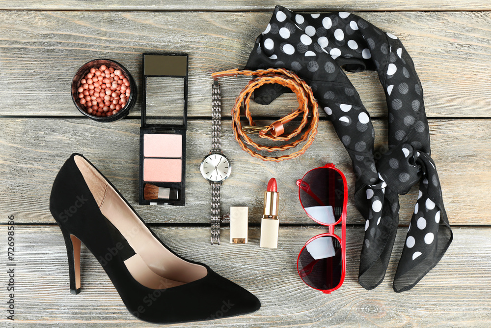 Fototapeta Essentials fashion woman objects on wooden background