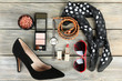 canvas print picture - Essentials fashion woman objects on wooden background