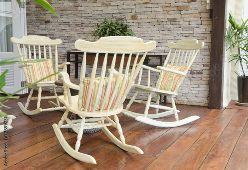 Strange Group Of Relaxing Rocking Chairs Overlooking Peaceful Ibusinesslaw Wood Chair Design Ideas Ibusinesslaworg