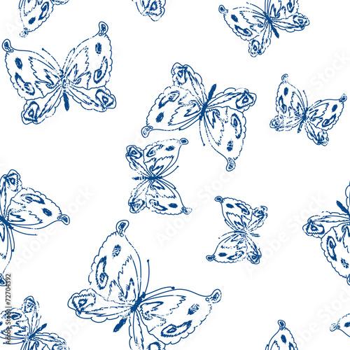 Photo  Butterflies  Seamless Pattern