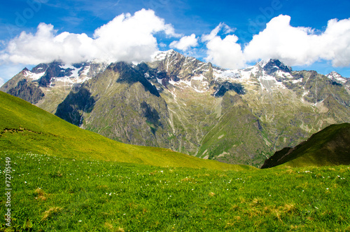 Fotobehang Alpen Hiking in the Mountain Alps of France
