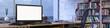 Leinwanddruck Bild - Panorama vom Büro mit leerem Monitor