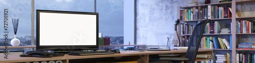 Fotografie, Obraz  Panorama vom Büro mit leerem Monitor