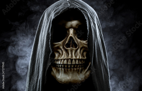 Grim reaper, portrait of a skull in the hood over black, foggy b Poster