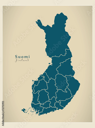 Modern Map - Finland with federal states FI Canvas Print
