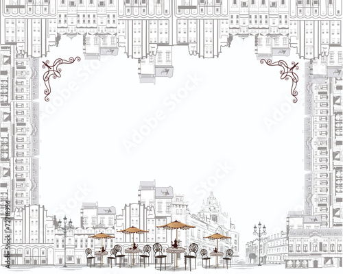 Canvas Print Coffee frame - sketch of old city streets