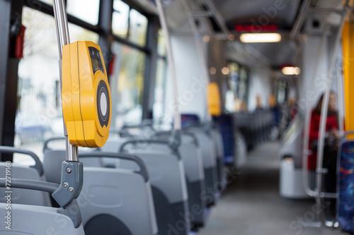 Interior of modern city tram