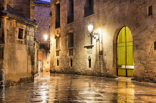 In de dag Barcelona Gothic quarter of Barcelona in wet weather conditions
